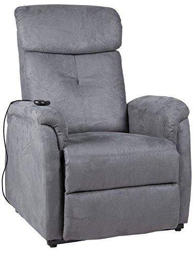Duo Collection Fernseh-TV-Sessel Pavlos, Aufstehhilfe, Motor, Liegefunktion, stufenlos Einstellbar, Fernbedienung, Stoff-Bezug Struktur-Mikrofaser, Grau