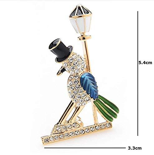 X-Z Cool Blue Bird Street Light Broschen für Frauen und Männer Strass Tier Brosche Pins Frauen Hüte Taschen Zubehör (Bird Pin Blue)