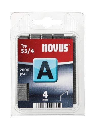 Novus Feindrahtklammern 4 mm, 2000 Tacker-Klammern, Typ A53/4, zur Befestigung von Textilien, Holzleisten, Drahtgeflecht