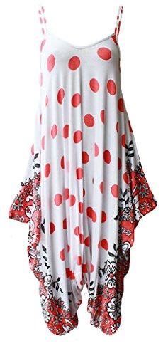 Fashion 4 Less Neuf Femme Grande Taille Caraco Combinaison Sarouel Dress.UK 8-26 Red Polka Dot