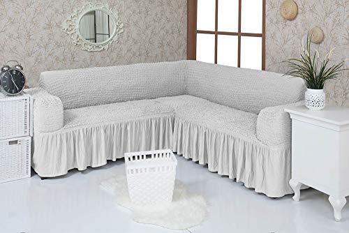 Mixibaby Eck Sofabezug Sofahusse Sesselbezug Sitzbezug Sesselüberwurf Stretchhusse Sofahusse, Farbe:Eierschale