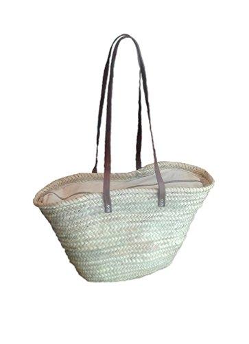 Capazo de Palma con asas larga de cuero, cierre con cremallera. Cesto o Bolso de mimbre para la playa, fibras naturales (9V, aprox. 48x30 cm)