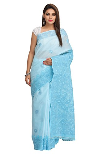 Ada Women's Handcrafted Lucknow Chikankari Cotton Saree With Blouse Piece (A192249_Blue)