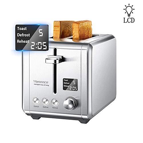 Toaster 2 Scheiben Toaster Edelstahl, LCD-Countdown-Display mit 9 Bräunungsstufen + Auftau- & Aufwärmfunktion, Extra Breite Toastschlitze, 920 W, Silber, Willsence
