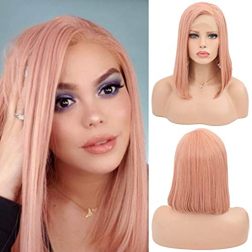 Moda rosa corta Bob peluca para las mujeres naturales mirando parte lateral de encaje frente recta fiesta peluca 14 pulgadas
