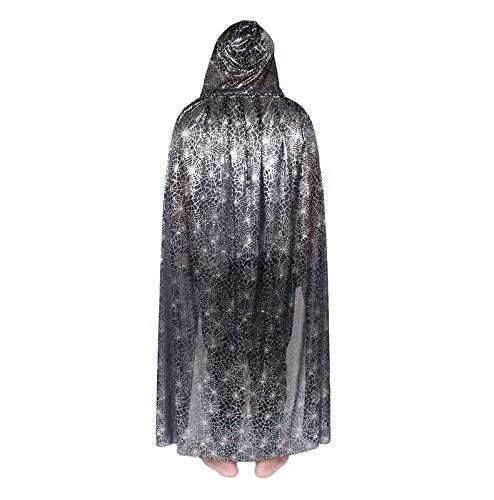 Silber Kostüm Themen - WEII Halloween-Umhang-Horror-Thema-Make-upkostüme Halloween-Kostüme,Silber mit Kapu,100 cm