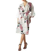 iB-iP Mujer Pavo Real y Ciruelo florecen de Estilo Kimono japonés Midi Bata