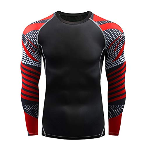 DNOQN Coole Shirts Herren Langarmshirt Herren Beiläufig Fitness Schnell Trocknende Elastische Atmungsaktive Sport Fest Langarmshirts XXXL