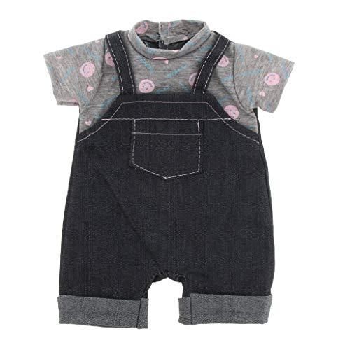 Gazechimp Sistema de Ropa de Manera Camisa y Pantalones de Liga con Percha para 18 Pulgadas Americana Muchacha Doll - Negro Gris