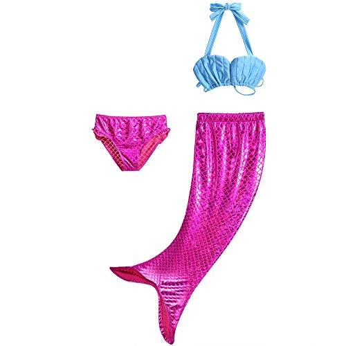 ädchen Meerjungfrau Schwimmanzug 3-Teile-Set Bikini Kostüm Badeanzug 4-5 Jahre Rosa4 (Herstellergröße 110) (Kostüme Für 3 Mädchen)