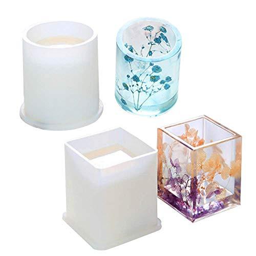 JOJOR Résine Moules en Silicone Cube et Cylindre Forme de Moulage de Résine pour DIY Artisanat Fabrication, 2 Pièces
