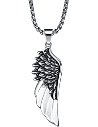 Stainless Steel Men's Angel Wing Pendant Necklace With 3.5Mm Round Link Chain - G2034D