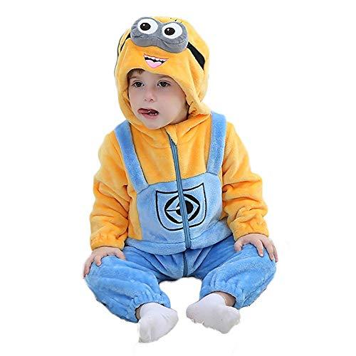 Prima Infanzia Flanella Pagliaccetto con Cappuccio Neonato Tutina Bambino Jumpsuit (Minions, 90 cm (110))