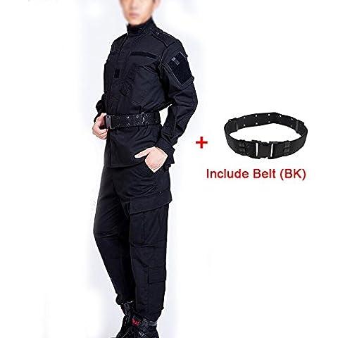 Táctica hombres BDU combate Uniforme Chaqueta Camiseta & Pantalones Traje Negro BK para Airsoft, Paintball Militar del Ejército Caza Juego de Guerra, negro