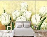 HONGYUANZHANG Weiße Schöne Blume Knochen Tapete Des Foto-3D Künstlerische Landschafts-Fernsehhintergrund-Tapete,80Inch (H) X 112Inch (W)