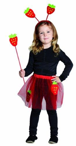 Kostüm Zubehör Set Erdbeere Rock Feenstab Haarreif Karneval Fasching (Erdbeer-zubehör)