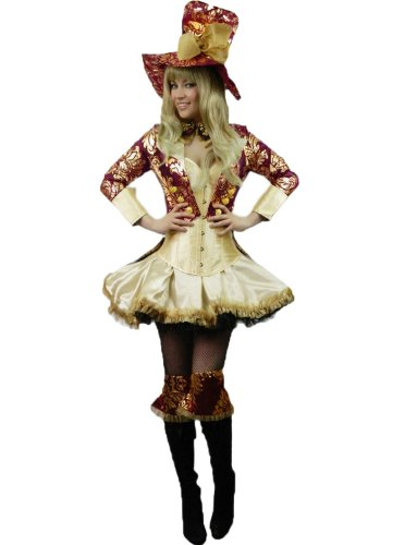 Yummy Bee - Mad Hatter Kostüm Verrückter Hutmacher Teegesellschaft Alice im Wunderland Karneval Fasching Damen Größe 34-50 - Schwarz Mad Hatter Kostüm