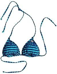 Roxy Pop de natación para mujer Tri Bikini parte superior, mujer, Pop Swim Tri, Blue Depths Olmeque Stripe, mediano