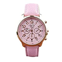 FALAIDUO Unisex Leather Band Analog Quartz Vogue Wrist Watch Watches (Pink)