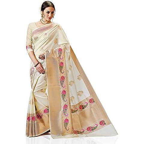 Meghdoot Women's Traditional Woven Kanchipuram Spun Silk Saree Cream Color Sari