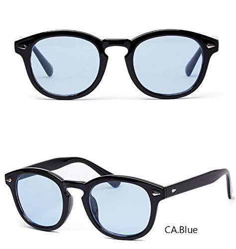 YJKHKL Nerd Fashion Johnny Depp Sonnenbrille Herren Style Round Tint Ocean Lens Markendesigner Party Show Sonnenbrille Damen Blue RivetBlue