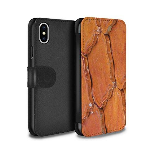 Stuff4 Coque/Etui/Housse Cuir PU Case/Cover pour Apple iPhone X/10 / Pack 15pcs Design / Pierre/Rock Collection Ardoise/Carrelage/Orange
