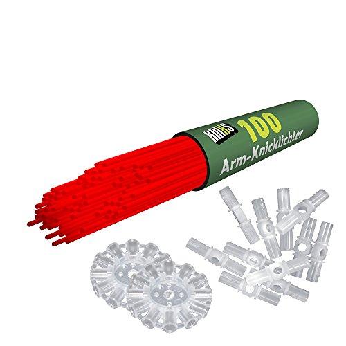 100 Knicklichter KNIXS | Rot | inkl. 100 x 3D-Verbinder und 2 x Ballverbinder, seit 10 Jahren in Profiqualität, deutsche Testnote: 1,6