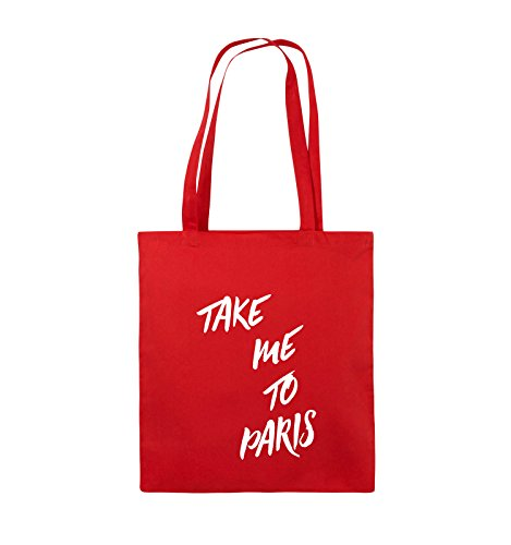 Comedy Bags - TAKE ME TO PARIS - Jutebeutel - lange Henkel - 38x42cm - Farbe: Schwarz / Silber Rot / Weiss