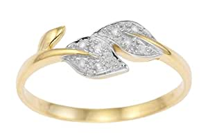 Ornami Glamour 9ct Yellow Gold Ladies' Diamond Set Celtic Style Double Leaf Ring Size M