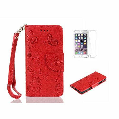 iPhone 6Custodia, iPhone 6S Custodia, con protezione per lo schermo in vetro temperato] antigraffio, fatcatparadise (TM) Custodia posteriore in silicone morbido, elegante vintage fiori pressati Bloom Red