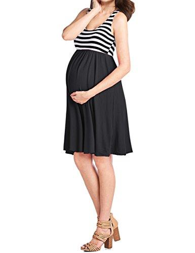 KoJooin Damen Elegant Umstandskleid Rundhals-Ausschnitt Schwangerschaft Kleider, Casual Ärmelloser Knielang Kleid Schwarz S (Geraffter Taille-mini-rock)