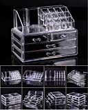 Cosmetic Holder Large 4 Drawers Jewelry Chest MakeUp Acrylic Case Organizer Set