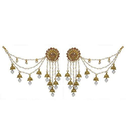 The Luxor Gold Plated American Diamond Bahubali Long Chain Jhumki Earrings for...