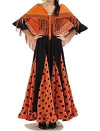 Anuka Conjunto de niña para Danza Flamenco o sevillanas. Maillot, Falda y mantón