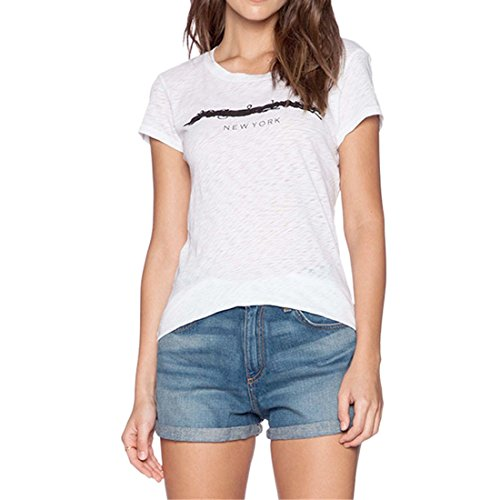 T-Shirt A Encolure New Womens Blanc Lettre Imprimee A Manches Courtes Ronde Slim Top Blouse Blanc