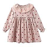 MRULIC Baby Kleinkind Mädchen Langarm Herbst Karikatur Prinzessin T-Shirt Kleid 2-6 Jahre(Rosa,100-110cm)