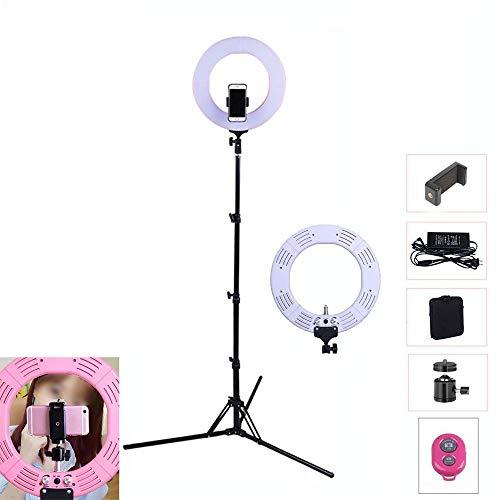 """Ring Lighting, 14\"""" Outer 9\"""" Inner 60W 5500K LED Dimmbar Ringleuchte Fluoreszenz Set Beleuchtung Kit mit Lichtstativ Bluetooth Fernbedienung Kosmetikspiegel für Bilden Smartphone YouTube Video-Weiß"""