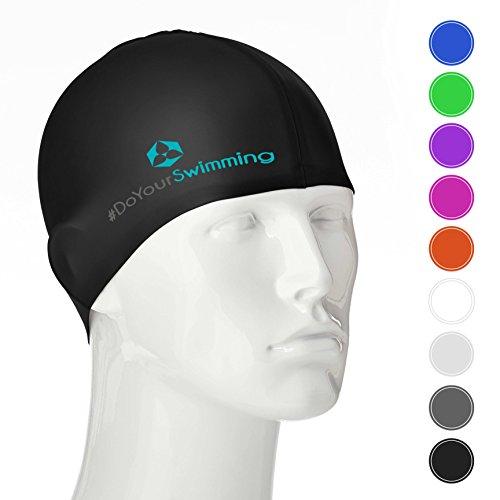 #DoYourSwimming Badehaube/Schwimmhaube mit extra Schutz für die Ohren   für Erwachsene & Jugendliche   Silikon (wasserdicht) - elastische Badekappe/Schwimmkappe - Tragekomfort »Barney« schwarz