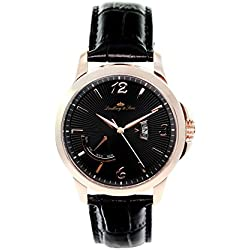 wrist watch for men Lindberg & Sons quartz movement - analog display black leather bracelet and black dial LS15H10