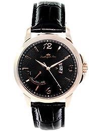 Lindberg & Sons LS15H10 - Reloj pulsera analógico de cuarzo para hombre, correa de cuero negra
