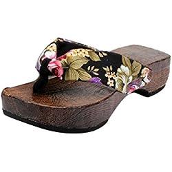 Sandalias para Mujer Yesmile Zapatos Casual de Mujer Sandalias de Verano para Fiesta y Boda Zapatos de Plataforma Sandalias de Madera Zueco Zapatillas de Japón (Negro, 39)