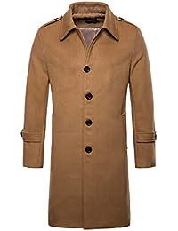 Adong High-End Uomo Nuovo Cappotto di Lana Lungo Monopetto Materiale Giacca  a Vento di Colore Solido Bavero Giacche a Vento per… 213551b52f1