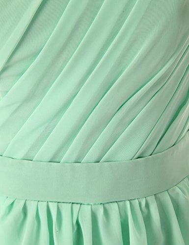 Dresstells, Robe de demoiselle d'honneur épaule asymétrique mousseline longueur au genou Blanc