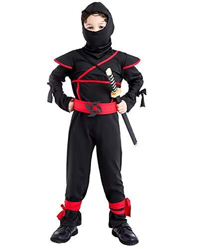 Taglia l - 7-8 anni - costume - travestimento - carnevale - halloween - guerriero ninja - colore nero - bambino