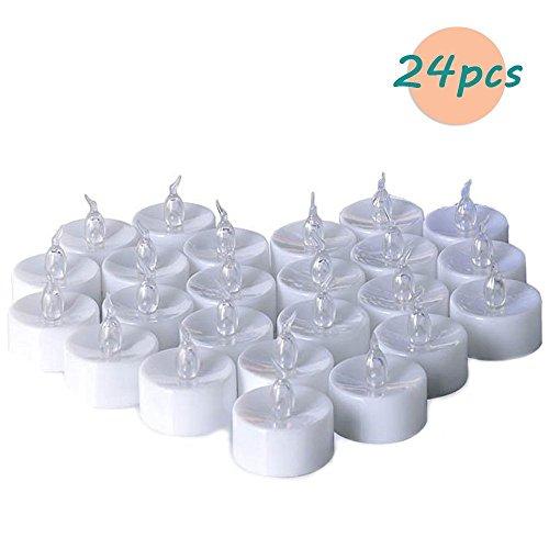 Zenoplige Teelichter batterie 24 Flameless Kerzen inkl. Batterien CR2032, flammenlose LED Teelichter flackernd Kerzen mit Flackereffekt Warmweiß - Alle Natürlichen Tee