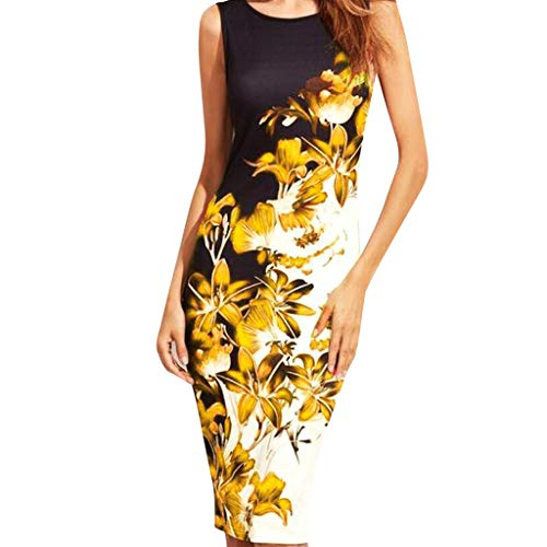 CANDLLY Kleider Damen, Süß Strandkleid Böhmen Elegant Damen Rundhals Ärmellose Abendkleid Panzer Blume Gedruckt Partykleid Knielang ()