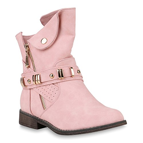 Damen Schuhe Stiefeletten Leicht Gefütterte Biker Boots Zipper Nieten 147481 Rosa Camargo 40 Flandell