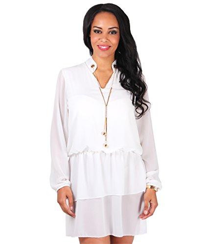 KRISP ® Femmes Mini Robe Bohème Mousseline de Soie Loose Casual Crème