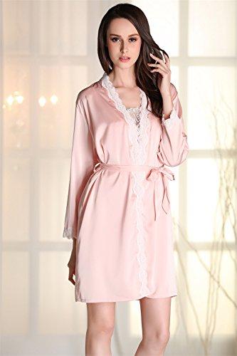 Kenmont Damen Luxus Kimono Nachthemd Nachtwäsche Pyjama Set Bademäntel Morgenmantel Schlafanzüge mit Spitzenverzierung Rosa