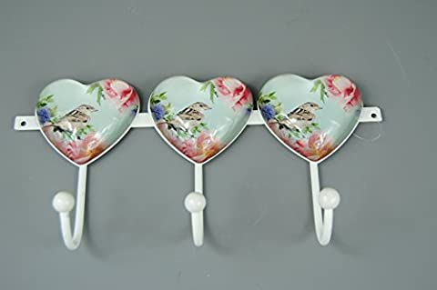 Vintage look GlassHeart shaped Domed design with Bird Flower Pattern in Duck egg Blue with pinks greens and Blue colours with 3 metal Hooks for